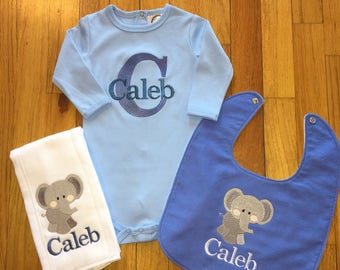 Personalized Baby Onesie/Personalized Burp Cloth/Personalized Baby Bib/Personalized Baby Item/Elephant Bib/Elephant Burp Cloth/Elephant Baby