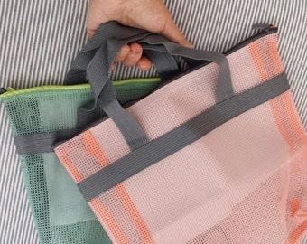 Set of 2, Mesh Tote Bags, Beach Bags, Small Items Organizer, with Zipper, 30cm x 27cm x 10cm - GREEN & ORANGE