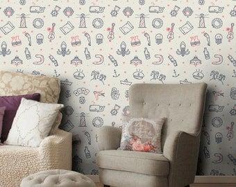 Vinyl wallpaper, self-adhesive, temporary, removable nursery mb089
