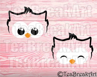 Owl Face Monogram Frame Cutting Files SVG PNG jpg dxf Instant Download iron on heat transfer digital decal design 765C