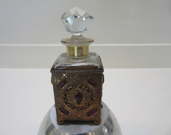 Gorgeous vintage glass and jeweled brass perfume bottle