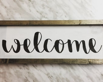 Wooden Welcome Sign, Welcome Sign, Rustic Wooden Sign, Rustic Welcome Sign, wooden sign Handmade, Home Decor, livingroom decor, welcome home