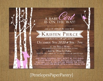 Baby Girl Shower Invitation,Woodland,Rustic,Birch Trees,Pink Fawn,Book Poem,Coed Shower,Simple,Custom,Printed Invitation,Envelopes