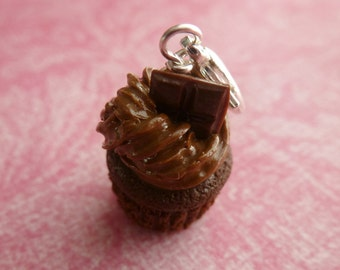 Chocolate Cupcake Miniature Food Jewelry Cupcake Charm Gifts for Her Polymer Clay Cupcake