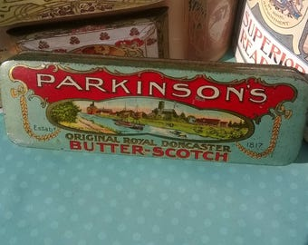 Parkinson's Original Royal Doncaster Butter-Scotch Victorian tin with excellent period graphics