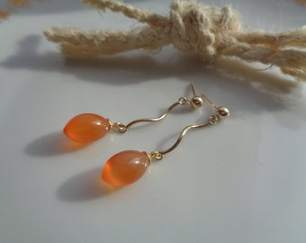 Gold Earrings with carnelian, 585 gold filled, beautiful design