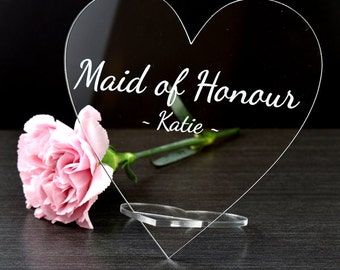 Personalised Acrylic Glass Name Hearts – Wedding Top Table Place Cards Signs