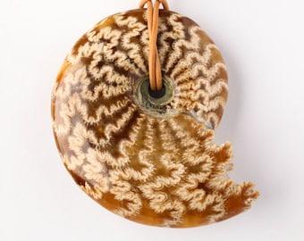 Very Large Natural Celoniceras Ammonite Fossil Pendant