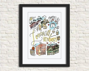 Louisville, KY Watercolor City Illustration Wall Art Print // 8x10