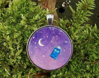 TARDIS and the Moon Hand Painted Pendant