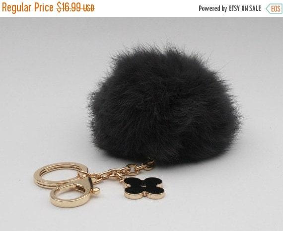pom perfect black rabbit fur pom pom ball keychain by yogastudio55. Black Bedroom Furniture Sets. Home Design Ideas