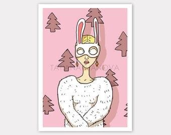 White Bunny Art Print, Pink Art Home Decor, Pink Illustrations, Cartoon Art