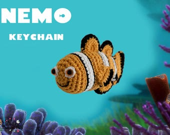 Crocheted Nemo keychain