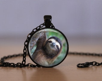 Sloth Pendant Necklace Three-Toed Sloth Mammal Mens Women