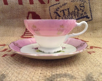 Beautiful Purple and Gold Floral Tea Cup and Saucer