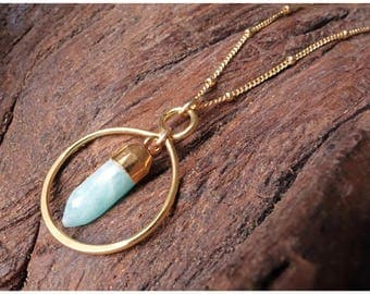 Infinity Amazonite Spike Necklace gold turquoise