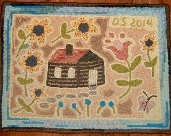 RUG HOOKING PATTERN Summer at the Little Cabin