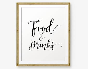 Food and drinks Sign Printable, Wedding Sign, Baby shower party sign, Wedding Sign, Wedding Decor, wedding reception sign, Party sign