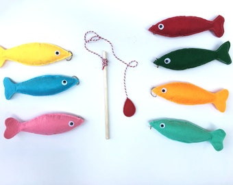 Felt magnetic fishing game - Felt fishing game for kids - educational Toddler toy - Felt Toddler activity - Toddler quiet time activity