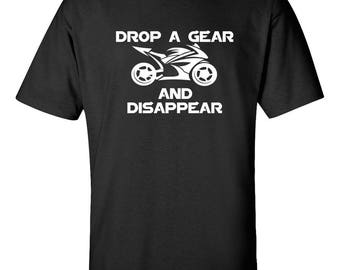 DROP A GEAR Motorcycle Graphic Tee  100% Screen Printed  ***Free Shipping***