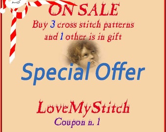 Special Offer - Buy 3 counted Cross Stitch Patterns and 1 other is in gift, digital file pattern, needlepoint, needlework