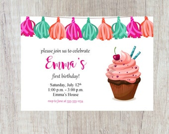 Cupake Birthday Invitation, Printable Cupcake Invitation, Pink Cupcake, Girl Invitation, Cupcake Birthday Party, Cherry On Top Invitation