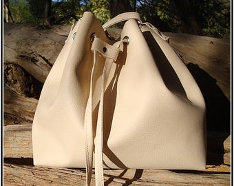 Small bucket bag beige leather bucket bag