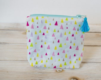 Tiny Triangles Zipper Pouch / Aqua Lining