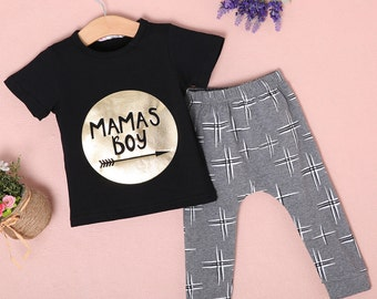 Mama's Boy 2 PC Outfit - Boutique Style Fashion Clothing for Boys, Toddlers, & Infants - Screenprint