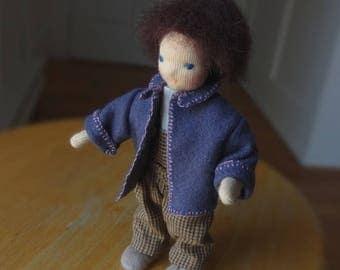 Bendy doll, dollhouse doll, posable Waldorf style doll, dark brown hair, blue eyes