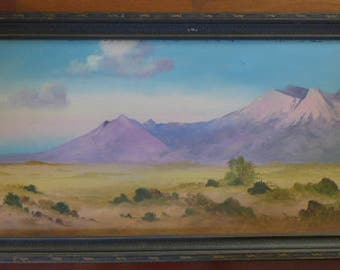 Vintage Pastel Painting - Sandia Mountains Painting - Watermelon Painting