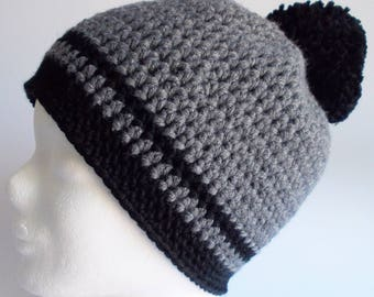 beanie, crochet hat, wooly hat, with pompon, black + grey