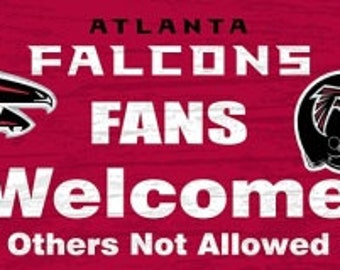 Atlanta Falcons NFL Fans Welcome Sign/WreathSupplies/NFL Football Sign/Sports Decor/FCFWSFALCO