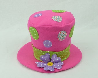 "6"" Pink Plush Top Hat w/ Polka Dots/Wreath Supplies/Easter Decor/61956BT"