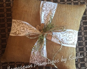 Personalized Primitive Country Ring Bearer Pillow Rustic Burlap with Lace