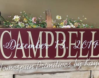 Personalized Last Name Wedding Date Overlap Sign