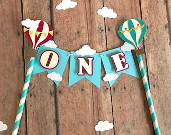 Hot Air Balloon Cake Topper- Cake Bunting, ONE cake topper,First Birthday Smash Cake topper, Hot Air Balloon Garland for cake