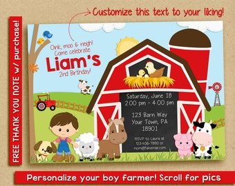 Farm Birthday Invitation | Farm Birthday Party | Farm Party | Birthday Invitation for Boys | Barn Invitation