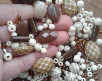 Mixed Retro Hippie Boho Beads Neutral Natural Tones Browns Gold Mostly Plastic Destash Lot of Beads Unusual Vintage Bead Lot