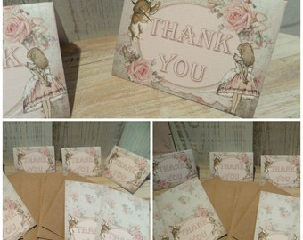 "8 MINI 3 x 2.3 "" Alice in Wonderland Thank You Cards Birthday,Wedding,Party,Favor,Baby Shower, Bridal Shower"