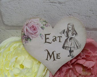 8 Alice in Wonderland Eat Me Quote Heart Table Cards Decoration,Wedding,Party,Table Decor, Gift tags,Crafts,Cardmaking