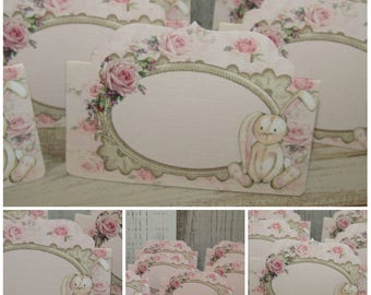 8 Pink Bunny Rabbit Blank Tent Cards Decoration -Bunny Rabbit Theme Baby Shower,Party,Birthday,Food Cards
