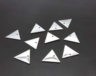 10 charms geometric triangles silver 14x12mm