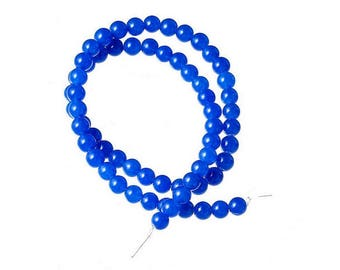 60 beads of Agate natural 6mm blue