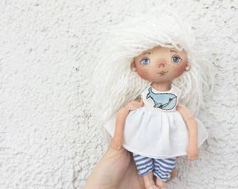 souvenir, blonde, keith, interior, doll, Art doll, fabric doll, rag doll, textile doll, interior doll, cloth doll, home decor, small doll