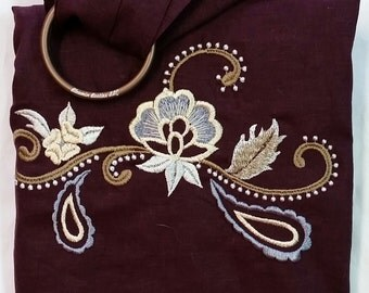 Embroidered Linen Ring Sling