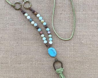 Long Bohemian Necklace, Boho Tassel Necklace, Leather Tassel Necklace, Long Necklace, Hippie Jewelry, Amazonite Beaded Necklace, Jewelry