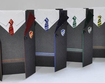 Harry Potter Hogwarts School House Uniform Gift Card Holder, Handmade Mini Greeting Card - Gryffindor, Slytherin, Hufflepuff, Ravenclaw!