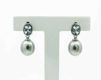 A Pair Of Stylish Silver Grey Fresh Water Pearls And Blue Topaz  Drop Earrings   SKU935