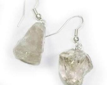 Rough Smoky Quartz Earrings w/ Silver Plated Earwire (ER15BT)